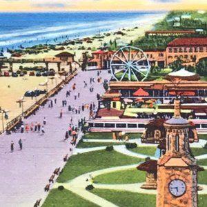 Vintage Wall Art - Vintage Florida Daytona Linen Souvenir Postcard